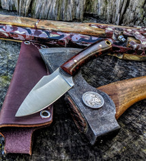 L.T. Wright Handcrafted Knives - Great Plainsman -  Saber Grind - Desert Iron Wood - 1