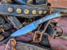 LT Wright Handcrafted Knives -  Large Workhorse  - Planton Stripe Blue Handles -1 - Saber Grind - D2 Tool Steel - NEW