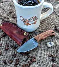 LT Wright  Handcrafted Knives - Buckeye - Koa Wood w/Yellow Liners -5 - Flat Grind - D2 Tool Steel - NEW JSR Exclusive!