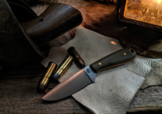 LT Wright Handcrafted Knives -  Frontier First - OD Green Micarta w/Orange Liners - Flat Grind -  01 Tool Steel