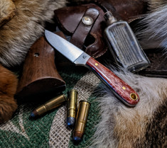 LT Wright Handcrafted Knives -  Frontier First  - Dyed Red Bone w/Gray Liners - Flat Grind -  3V Steel Blade - NEW!
