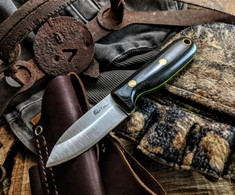 LT Wright Handcrafted Knives  - Bush Baby  -  Black Micarta w/Toxic Green liner  - Polished Finish - Saber Grind - 01 Tool Steel