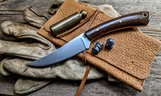 LT Wright  Handcrafted Knives -Large Swoop - Burlap Micarta w/Orange Liners -Flat Grind - NEW
