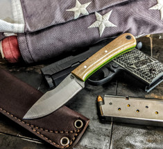 L.T. Wright Handcrafted Knives - Second Amendment -  Saber Grind - Snakeskin Micarta w/Toxic Green Liners - D2 Tool Steel - NEW!