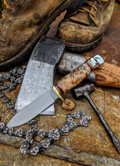 Hess Knifeworks - Tiburon  - Buckeye  Burl Handles - 2  - Polished Aluminum Pommel