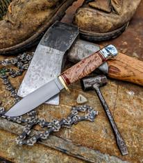 Hess Knifeworks - Tiburon  - Maple  Burl Handles - 1  - Polished Aluminum Pommel