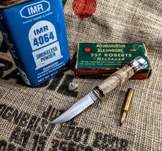 Hess Knifeworks - Whitetail  -  Maple Burl Wood Handles - 1  - Aluminum Pommel