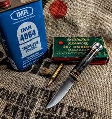 Hess Knifeworks - Whitetail  -  Buckeye Burl Wood Handles - 2  - Aluminum Pommel