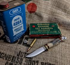 Hess Knifeworks - Whitetail  -  Buckeye Burl Wood Handles - 1  - Aluminum Pommel