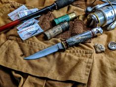 Hess Knifeworks - Bird and Trout - Buckeye Burl Wood Handles - 2  - Polished Aluminum Pommel