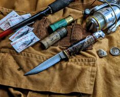 Hess Knifeworks - Bird and Trout - Maple  Burl Wood Handles - 1  - Polished Aluminum Pommel