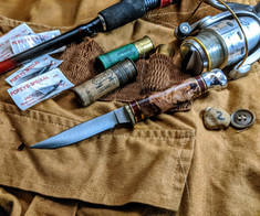 Hess Knifeworks - Bird and Trout - Maple  Burl Wood Handles - 2  - Polished Aluminum Pommel