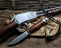 Hess Knifeworks - Whitetail  - Stacked Leather Handle-1 - Aluminum Pommel