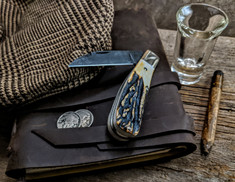 Tuna Valley Cutlery Co.  - Phoenix Jack  - Genuine Stag Handles - 2 - Raindrop Damascus Steel Blade - NEW RELEASE