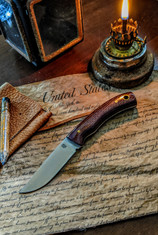 LT Wright  Handcrafted Knives - Revere -  Red/Brown Burlap Micarta - Flat Grind - A2 Steel - NEW