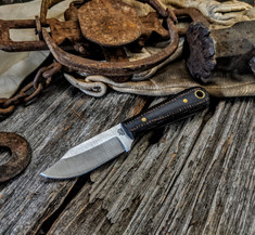 LT Wright Handcrafted Knives  -  Frontier Trapper  - Black/Brown Burlap Micarta Handles - AEB-L Stainless Steel - NEW