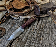 LT Wright Handcrafted Knives  -  Frontier Trapper  - Red/Brown Burlap Micarta Handles - AEB-L Stainless Steel - NEW