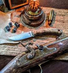LT Wright  Handcrafted Knives - Revere -  Buckeye Burl Wood Handles w/Black Liners - 4  - Flat Grind - A2 Steel - Copper Hardware - NEW