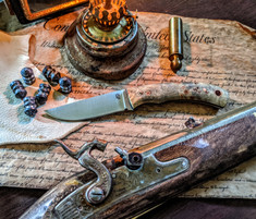 LT Wright  Handcrafted Knives - Revere -  Buckeye Burl Wood Handles w/Black Liners - 6  - Flat Grind - A2 Steel - Copper Hardware - NEW