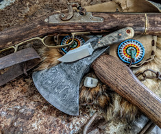 LT Wright Handcrafted Knives  - Frontier Trapper  - Buckeye Burl Wood w/Black Liners -1- AEB-L Stainless Steel - NEW