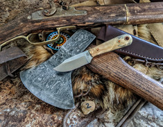 LT Wright Handcrafted Knives  - Frontier Trapper  - Buckeye Burl Wood w/Black Liners -2- AEB-L Stainless Steel - NEW