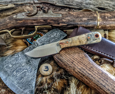 LT Wright Handcrafted Knives  - Frontier Trapper  - Buckeye Burl Wood w/Black Liners -3- AEB-L Stainless Steel - NEW