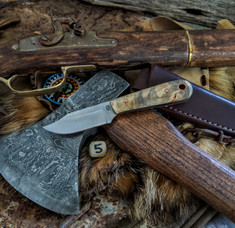 LT Wright Handcrafted Knives  - Frontier Trapper  - Buckeye Burl Wood w/Black Liners -5- AEB-L Stainless Steel - NEW