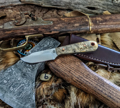 LT Wright Handcrafted Knives  - Frontier Trapper  - Buckeye Burl Wood w/Black Liners -6- AEB-L Stainless Steel - NEW