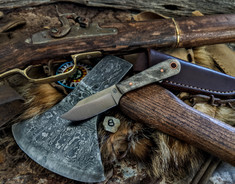 LT Wright Handcrafted Knives  - Frontier Trapper  - Buckeye Burl Wood w/Black Liners -8- AEB-L Stainless Steel - NEW