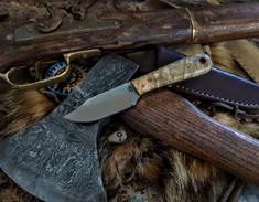 LT Wright Handcrafted Knives  - Frontier Trapper  - Buckeye Burl Wood w/Black Liners -9- AEB-L Stainless Steel - NEW