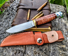 Hess Knifeworks - Tiburon  - Stacked Leather Handles  - Polished Aluminum Pommel