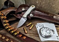 LT Wright  Handcrafted Knives - Buckeye - Smooth White Bone  w/Black Liners -1 - Flat Grind - D2 Tool Steel - NEW JSR Exclusive!