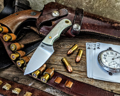 LT Wright  Handcrafted Knives - Buckeye - Smooth White Bone  w/Black Liners -2 - Flat Grind - D2 Tool Steel - NEW JSR Exclusive!