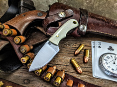 LT Wright  Handcrafted Knives - Buckeye - Smooth White Bone  w/Black Liners -3 - Flat Grind - D2 Tool Steel - NEW JSR Exclusive!