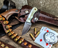 LT Wright  Handcrafted Knives - Buckeye - Smooth White Bone  w/Black Liners -6 - Flat Grind - D2 Tool Steel - NEW JSR Exclusive!