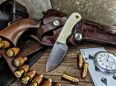 LT Wright  Handcrafted Knives - Buckeye - Smooth White Bone  w/Black Liners -7 - Flat Grind - D2 Tool Steel - NEW JSR Exclusive!
