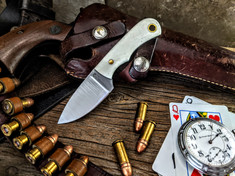 LT Wright  Handcrafted Knives - Buckeye - Smooth White Bone  w/Black Liners -10 - Flat Grind - D2 Tool Steel - NEW JSR Exclusive!