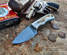LT Wright  Handcrafted Knives - Buckeye - American Elk w/Black Liners -4 - Flat Grind - D2 Tool Steel - NEW JSR Exclusive!