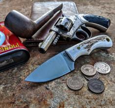 LT Wright  Handcrafted Knives - Buckeye - American Elk w/Black Liners - 9 - Flat Grind - D2 Tool Steel - NEW JSR Exclusive!