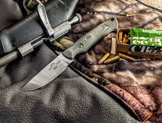 White River Knives - Small Game - Black/OD Green Linen Micarta Handles -  CPM S35VN Steel Blade - Leather Sheath - NEW
