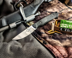 White River Knives - Small Game - Black Burlap Micarta Handles -  CPM S35VN Steel Blade - Leather Sheath - NEW