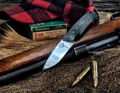 White River Knives - Hunter - Black Burlap Micarta Handles -  CPM S35VN Steel Blade - Leather Sheath - NEW