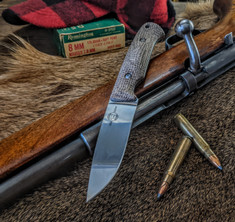 White River Knives - Hunter - Natural Burlap Micarta Handles -  CPM S35VN Steel Blade - Leather Sheath - NEW
