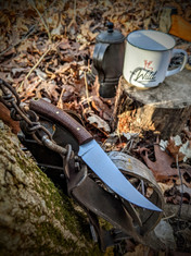 LT Wright  Handcrafted Knives -Large Swoop - Brown Burlap Micarta  -Flat Grind - NEW