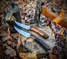 LT Wright  Handcrafted Knives -Large Swoop - Brown/Black Burlap Micarta  -Flat Grind - NEW