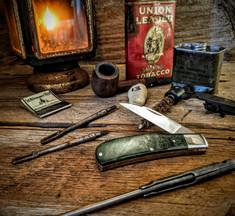 Tuna Valley Cutlery Co.  - Phoenix Jack  - Green Maple Burl Wood Handles - 13 - 154 CM Steel Blade - NEW RELEASE!!