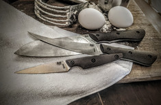 Smith & Sons Knife Company - NEW Kitchen Set - Natural Burlap Micarta Handles - AEBL SS Blades -  NEW
