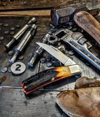 Tuna Valley Cutlery Co.  - Phoenix Jack  - Amber Stag Handles - 2 - 154 CM Steel Blade - NEW RELEASE!!