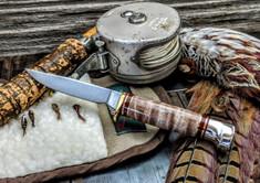 Hess Knifeworks - Bird and Trout - Maple Burl - Polished Aluminum Pommel