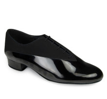 Classic style in a combination of Black Nubuck and Black patent. 1 inch heel.